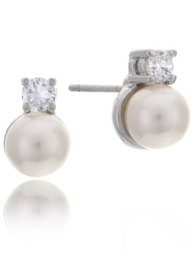 Kacie's Dangling CZ & Pearl Earrings  | Earrings