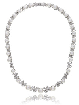 Carolyn's Floral CZ & Pearl Necklace 4 | Necklaces