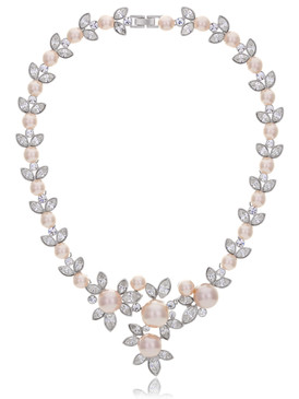Abbie's Floral Crystal & Pearl Necklace 4 | Necklaces