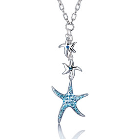 Dangling Crystal Starfish Necklace 450210