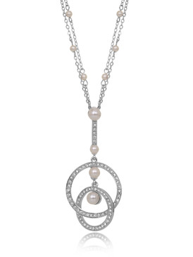 Avon's Crystal & Pearl Ring Necklace  | Necklaces