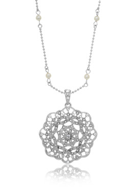 Crystal & Pearl Rosette Pendant Necklace  | Necklaces