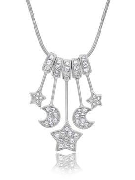 Twinkle Crsytal Moons & Stars Necklace 44625