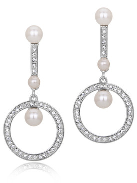 Avon's Crystal & Pearl Circle Earrings  | Earrings