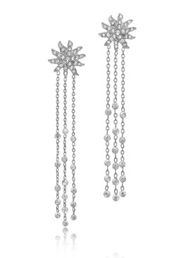 Sandy's Crystal Floral Lariat Earrings  | Earrings