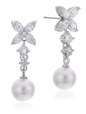 Zana's Flower CZ Pearl Drop Earrings 4 | Earrings
