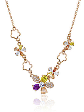 Jessica's CZ & Crystal Flower Necklace 450195