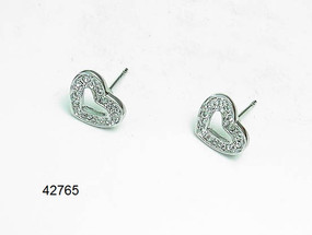 Crystal Heart Stud Earrings  | Earrings
