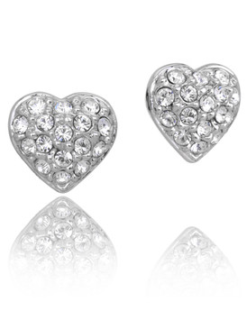 Pave Heart Crystal Earrings  | Earrings