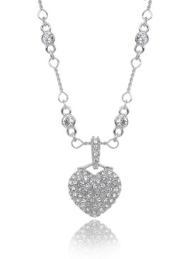 Pave Heart Crystal Necklace  | Necklaces