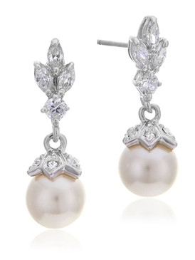 Amy's Crystal & CZ Pearl Drop Earrings  | Earrings