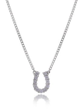 Lucky Horseshoe Pendant CZ Necklace  | Necklaces