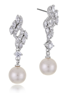 Floral Knot CZ Pearl Drop Earrings  | Earrings