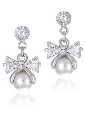 Delicate CZ Pearl Drop Bow Earrings  | Earrings