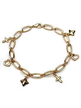 "Star, Heart, and Cross Charm Bracelet 70218-Rhodium-7.5"""