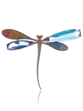Multi-Color CZ Dragonfly Brooch  | Brooches