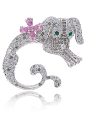 Jumping Dog Crystal Brooch  | Brooches
