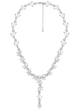 Melody's CZ Rosette Pearl Drop Necklace 4 | Necklaces