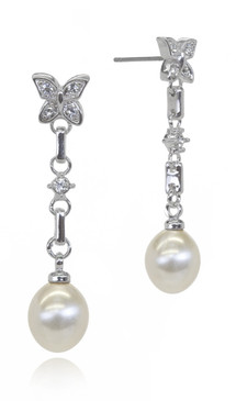 Butterfly Crystal and Pearl Earrings 34024