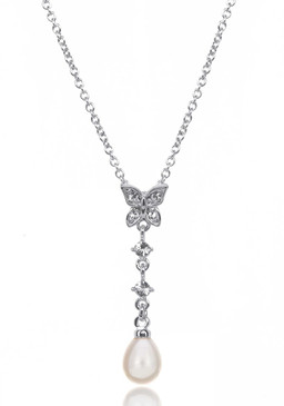 Butterfly Crystal and Teardrop Pearl Rhodium Plate Necklace 35024