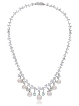 Tulip CZ Pearl Drop Necklace 4 | Necklaces