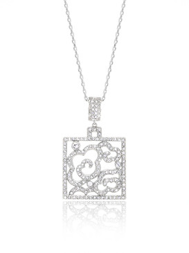 Floral Design Square Crystal Pendant  | Pendants