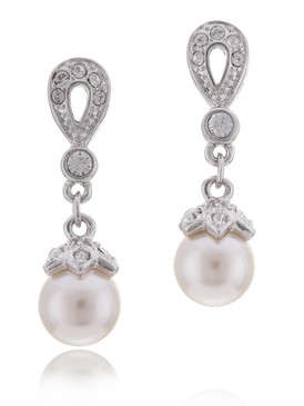 Crystal Pearl Drop Bridal Earrings, Bridesmaid Accessories & Wholesale Wedding Jewelry | Shop JGI Jewelry