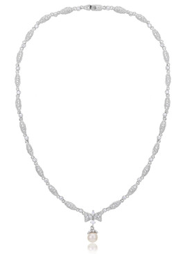 Crystal CZ Pearl Bridesmaid Necklace, Silver-tone Wedding Accessories & Wholesale Bridal Jewelry  | Shop JGI Jewelry