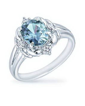 Aquamarine Center CZ Rhodium Ring| JGI Jewelry