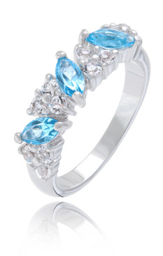Aquamarine & Clear CZ Rhodium Ring |JGI Jewelry