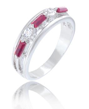 Ruby & Clear CZ Rhodium Ring| JGI Jewelry