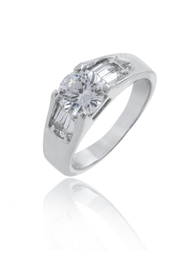Clear CZ & Baguette Rhodium Ring