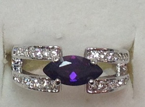 Amethyst CZ Rhodium Ring |JGI Jewelry