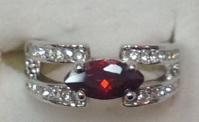 Ruby CZ Rhodium Ring | JGI Jewelry