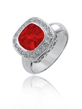 Red Ruby CZ Rhodium Ring | JGI Jewelry
