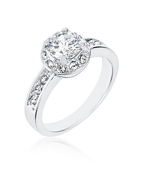 Estate Clear CZ Rhodium Ring | JGI Jewelry