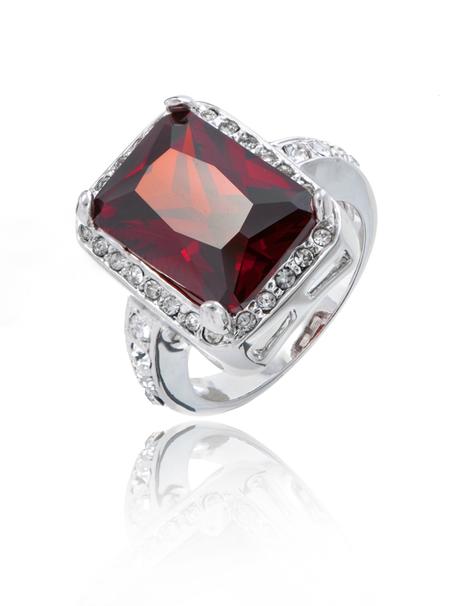 Big Ruby CZ Rhodium Ring | JGI Jewelry