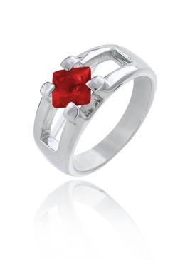 Square Ruby CZ Rhodium Ring |JGI Jewelry