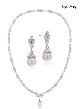 Bridal Pearl Necklace and Dangle Pearl Earring Set, 44478-set