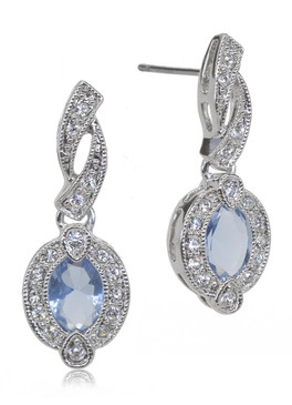 Aquamarine CZ Rhodium Earring 42228