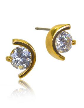 Half Moon With Cubic Zirconia stud Earrings 32827