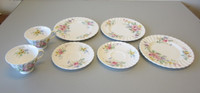 7 Pcs Vintage Royal Doulton ARCADIA China 3-Salad Plate 2-Tea Cup & Saucer Sets