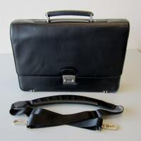 Samsonite 1910 Black Leather Business Laptop Case Briefcase w/Shoulder Strap