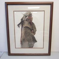 "Pencil-Signed Numbered James Bama ""Crow Indian Wearing 1860s Medicine Bonnet"""