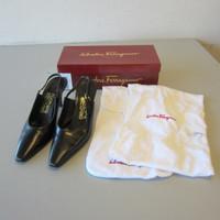 Ferragamo RAMINO Black Nero Nappa Calf Leather Sling-Back Pump 7cm Heel 8.5-B OB