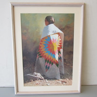 Signed Don Crowley STAR QUILT #xxx/1000 Native American Indian Art Print Framed