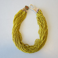 Vintage African NAGA Nagaland Trade Bead Necklace Multi-Strand Yellow Green