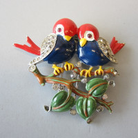 Vintage Crown Trifari Alfred Philippe Love Birds Brooch Pin Rhinestones Enamel