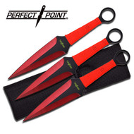 Throwing Knife Red 3pc Perfect Point (Large)