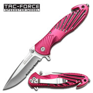Pink Serrated Rescue Spring Assisted Pocket Knife